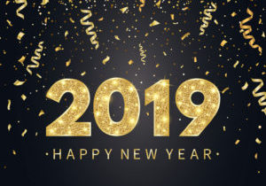 2019 Happy New Year background with gold confetti, glitter, sparkles and stars. Happy holiday backdrop with bright golden text and numbers. Luxury festive design for greeting card. Vector illustration.